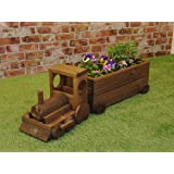 Danmu Art Wood Train Shape Flower Planter Garden Patio Planter