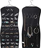 MISSLO Dual sided Hanging Jewelry Organizer with 40 Pockets and 24 Hook & Loops Closet Necklace Holder for Earring…