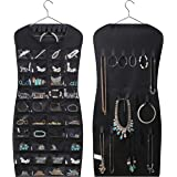 MISSLO Dual sided Hanging Jewelry Organizer with 40 Pockets and 24 Hook & Loops Closet Necklace Holder for Earring Bracelet R