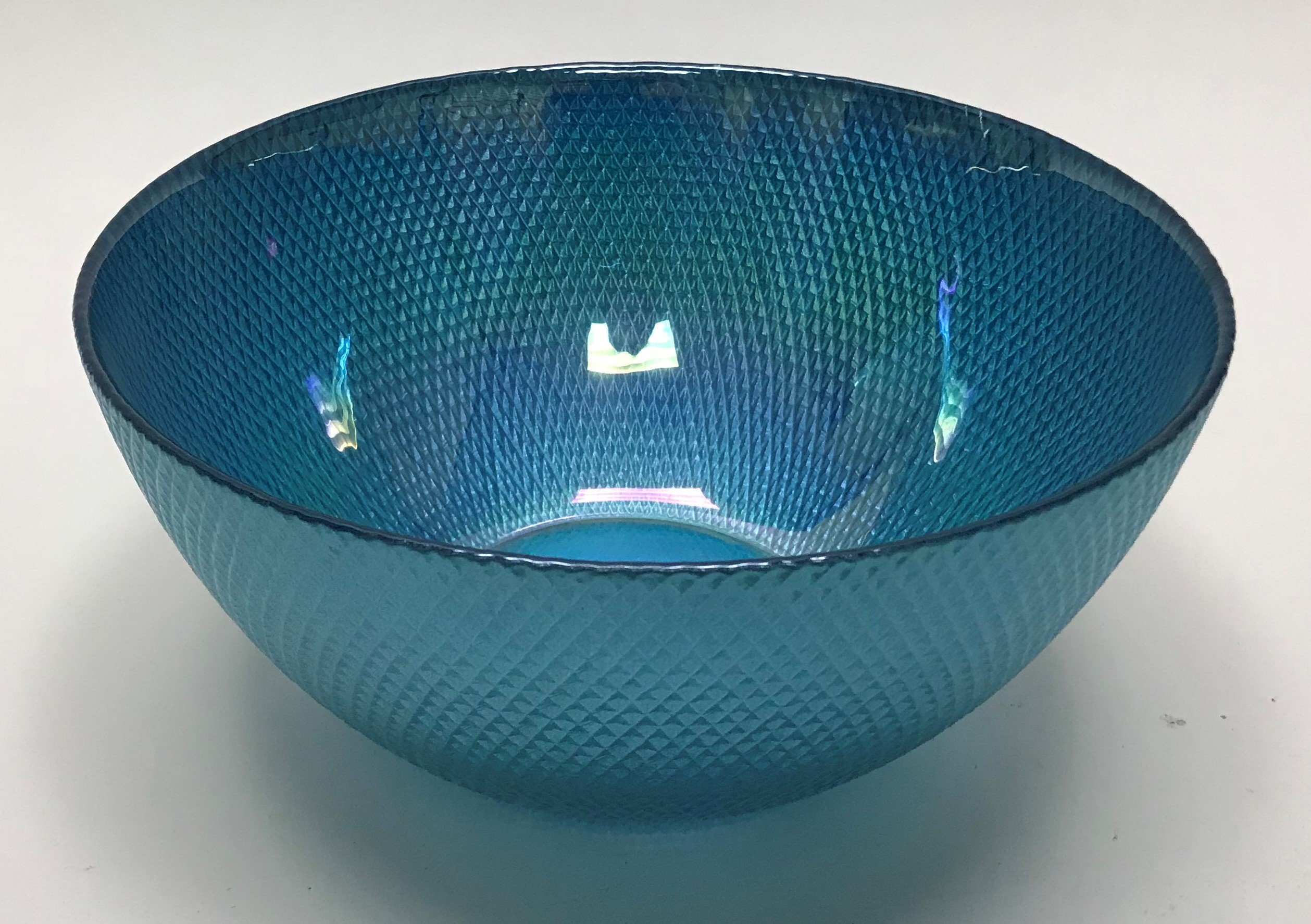 Circleware 03118 Radiance Glass Serving Mixing Fruit Bowl, Glassware for Salad, Punch Beverage, Ice Cream, Dessert, Food and Best Selling Home & Kitchen Decor Gifts, 10'', Aqua Luster