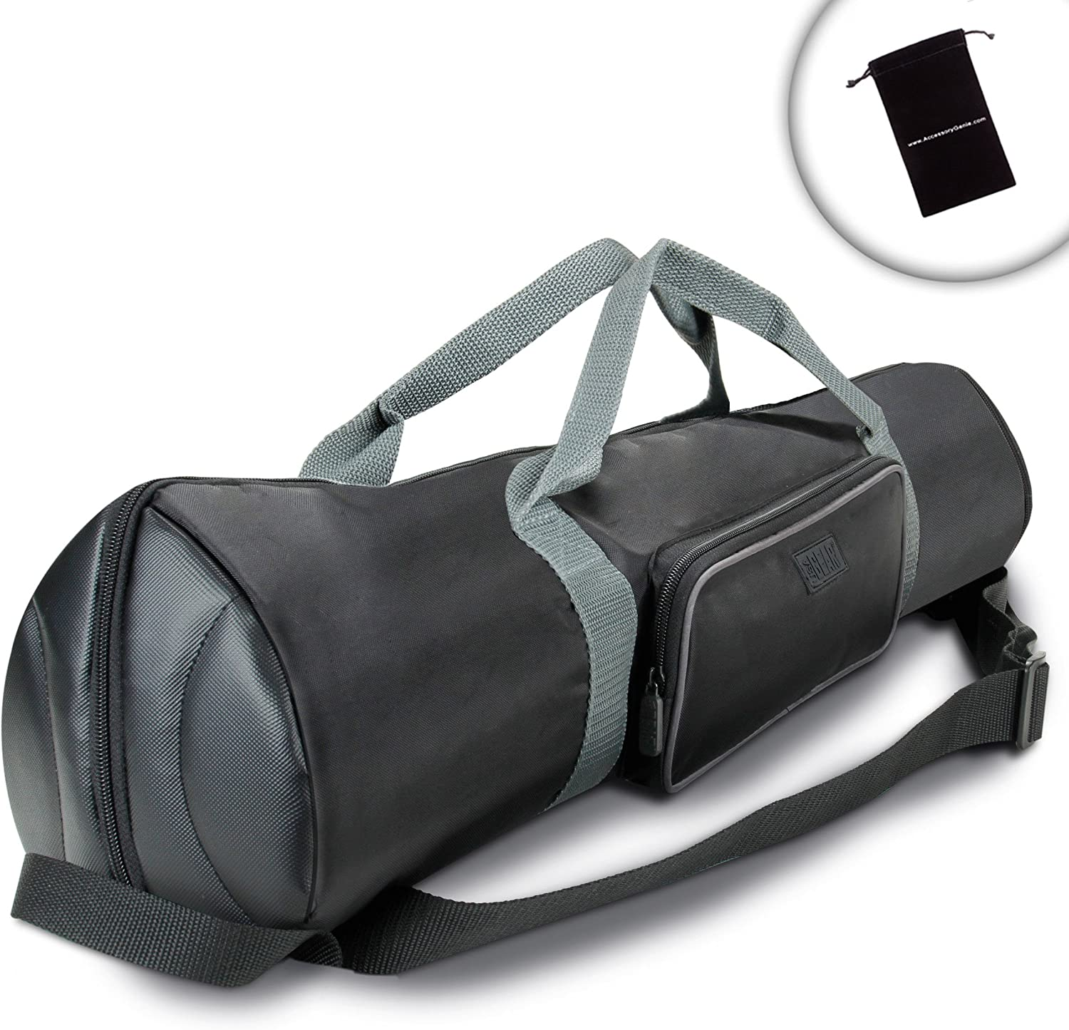 USA Gear Tripod Stand Carrying Case with Travel Strap, Expanding Top and Storage - Compatible with Vanguard, Polaroid, Digital Concepts and More 30-inch Foldable Tripods