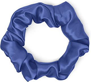 product image for Satin Scrunchies 100% Silk Premium Quality Ponytail Holders Choose Size Many Colors Scrunchie King Made in the USA (standard, navy)