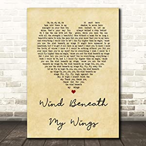 Tomve Greene #Bette #Midler #Wind Beneath My Wings Vintage Heart Song Lyric Quote Print Poster Wall Art Home Decor Gifts for Lovers Painting