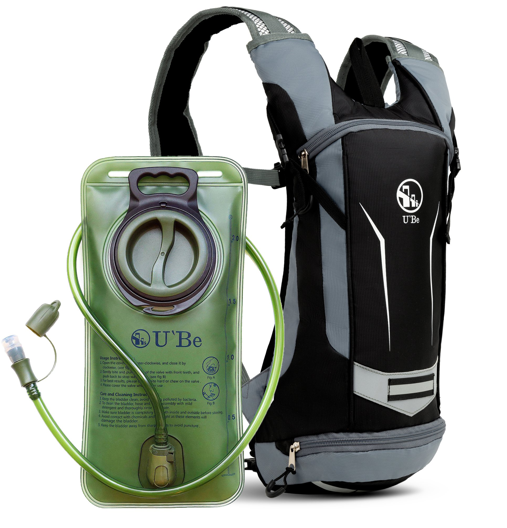 U`Be Hydration Pack - Hydration Backpack - Camel Pack Water Backpack with Insulated 2l Bladder for Women Men Kids Backpacking - Small Lightweight Water Reservoir for Running Hiking Cycling by U`Be
