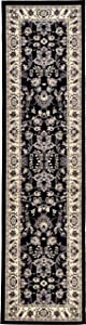 Unique Loom Kashan Collection Traditional Floral Overall Pattern with Border Black Runner Rug (2' 7 x 10' 0)