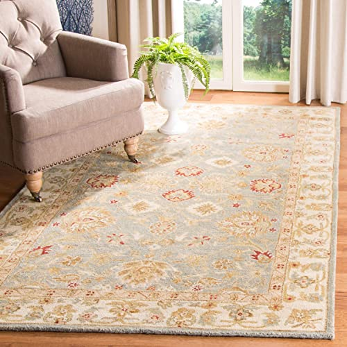 Safavieh Antiquities Collection AT822A Handmade Traditional Oriental Grey Blue and Beige Wool Area Rug 4 x 6