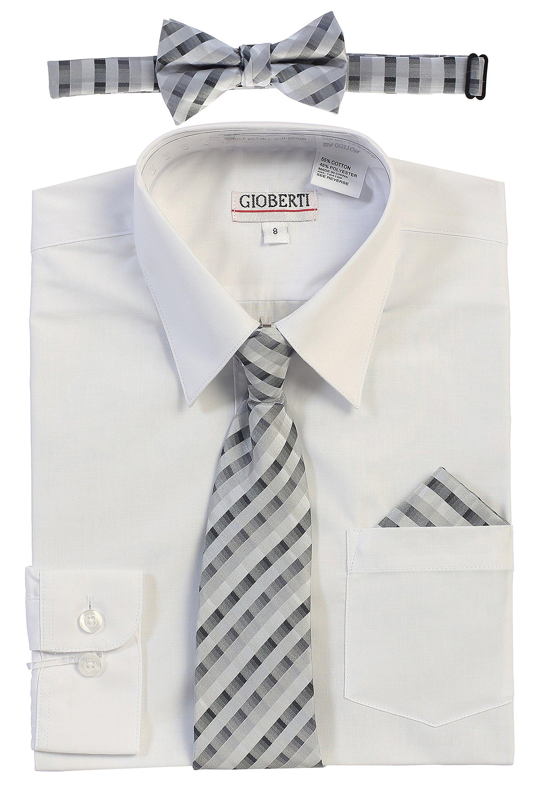 Gioberti Boy's Long Sleeve Dress Shirt and Tie Set, White, Size 7