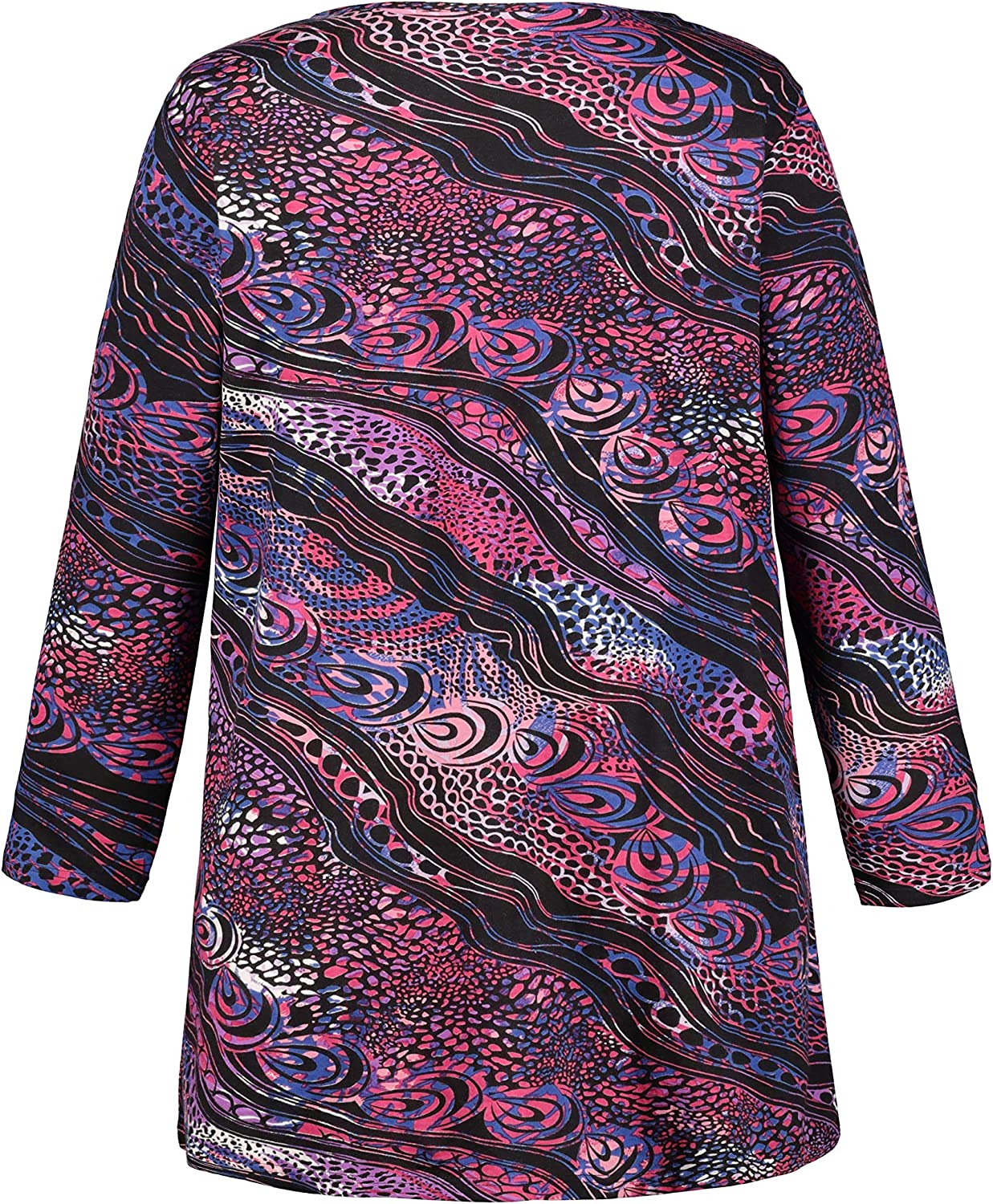 Ulla Popken Women's Plus Size Swirling Print Pocket Knit Tunic 718208 Multicoloured (Multi 71820890)