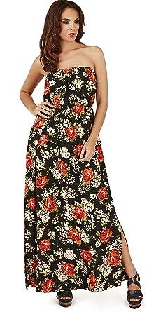 e568ecb57be Pretty Ladies Rose Print Lightweight Strapless Bandeau Maxi Dress, Black/Red