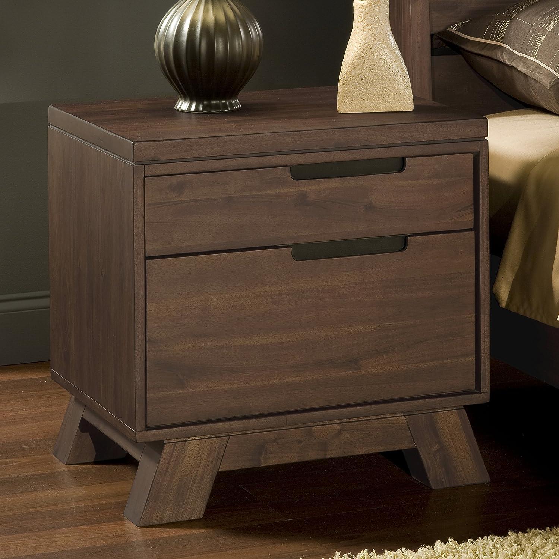 Amazon.com: Modus Furniture 7Z4881 Portland Solid Wood Nightstand, Walnut:  Kitchen U0026 Dining