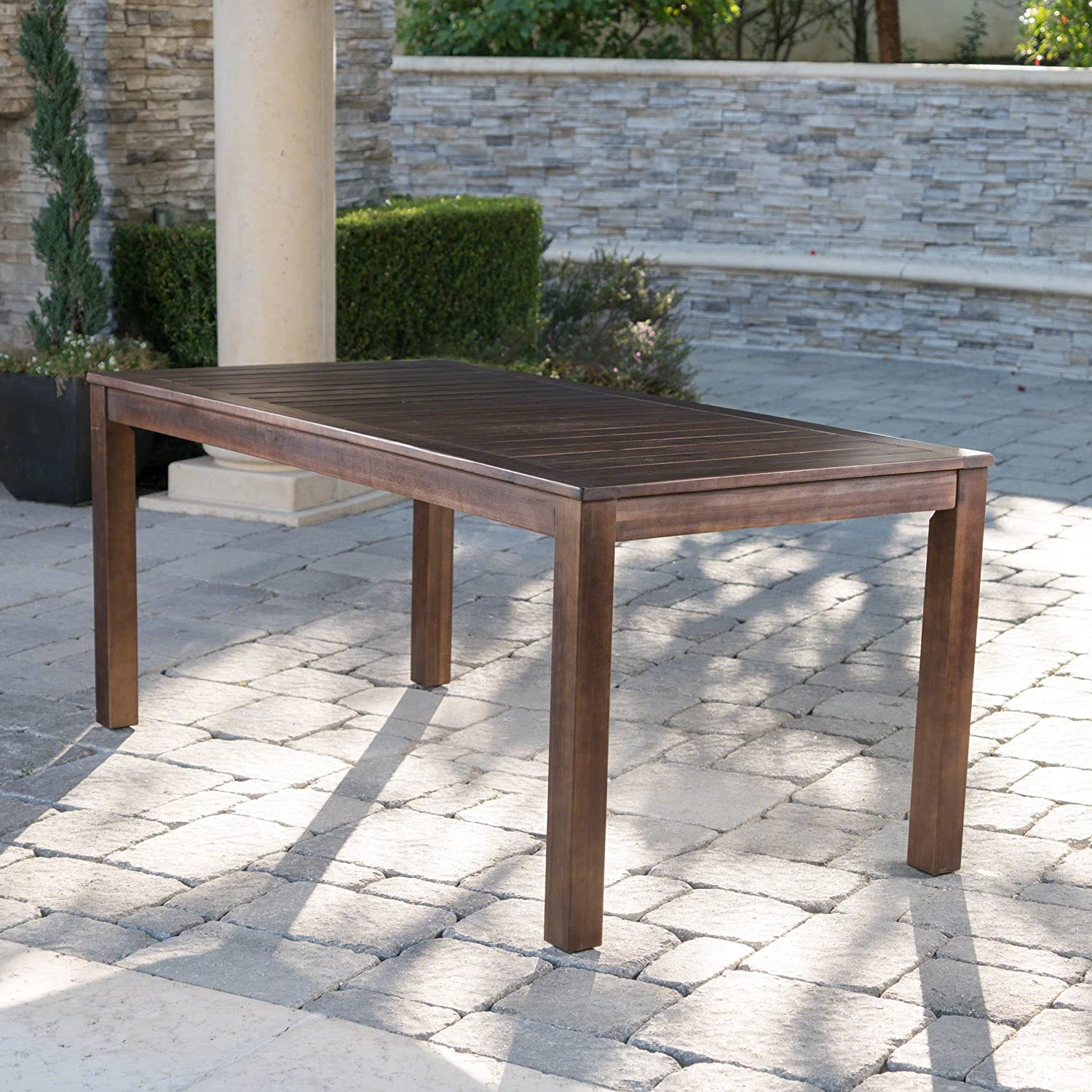 Christopher Knight Home Marin Dark Brown Acacia Wood Outdoor Dining Table