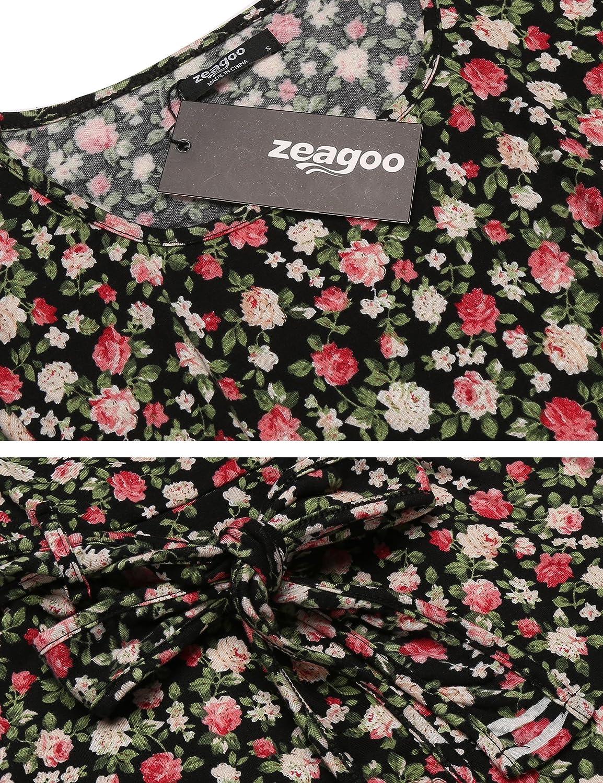 8a1c90c33ef971 Zeagoo Elegant Damen Sommerkleid Vintage Blumen Kleid Partykleid Jerseykleid  A-Linie mit Gürtel: Amazon.de: Bekleidung