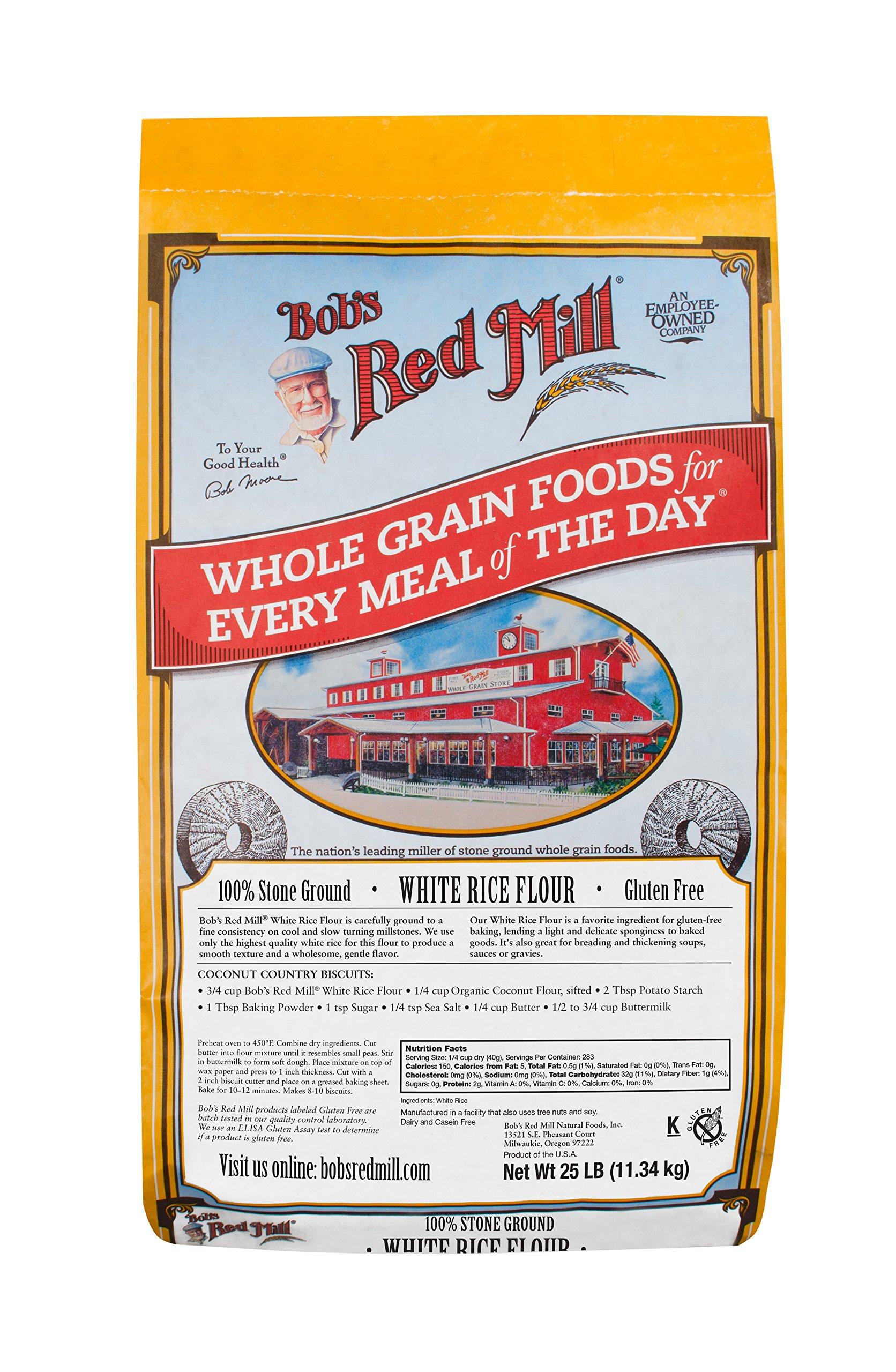 Bob's Red Mill Gluten Free White Rice Flour, 25 Pound