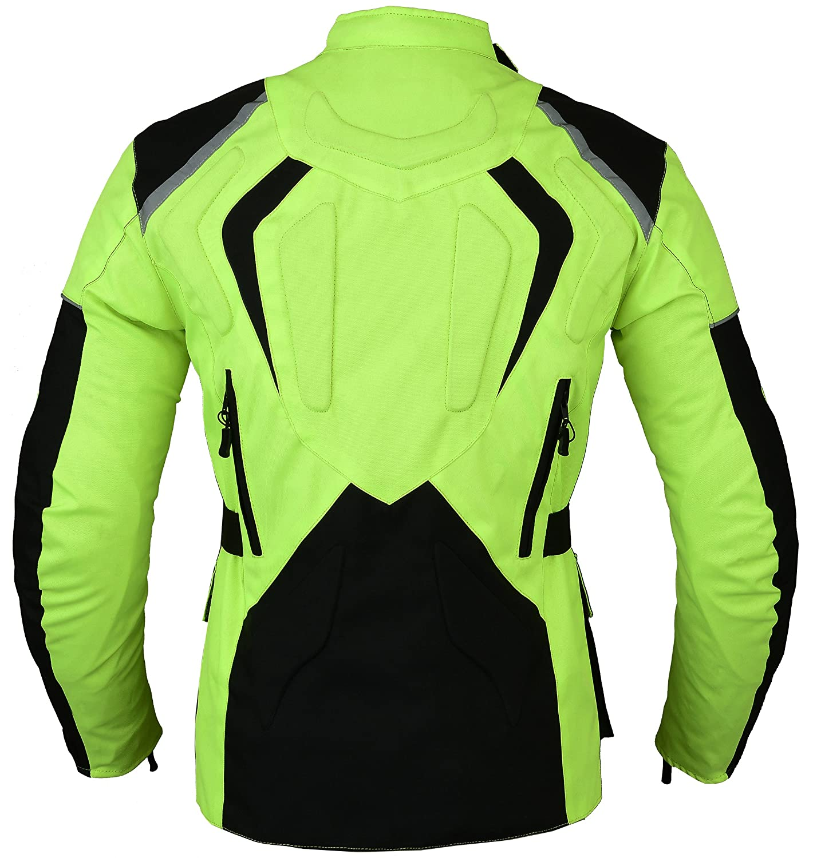 Gr/ün Motorrad Jacke Hochsichtbare Wasserdicht und reflektierendes
