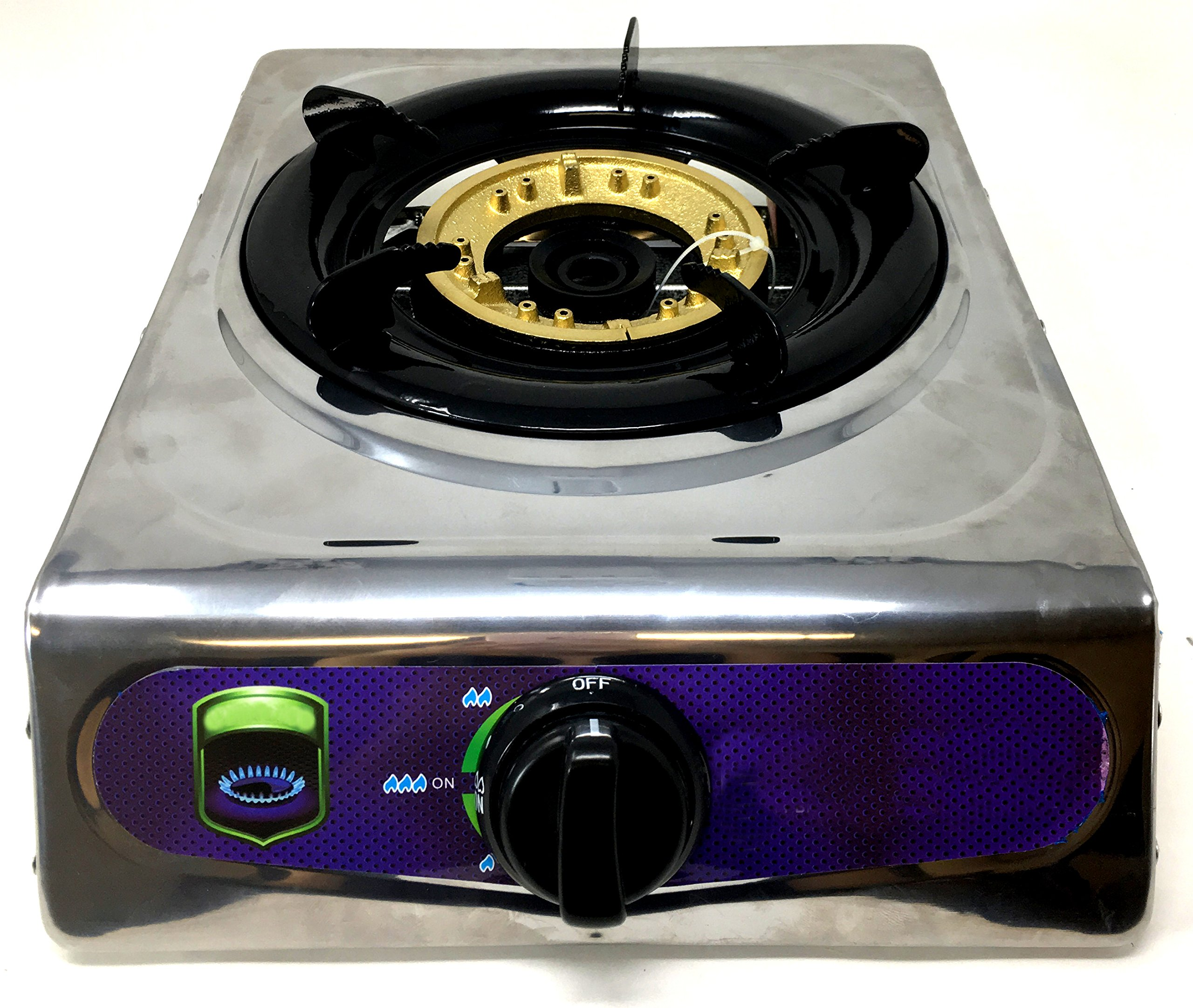 Unique Imports #1 Heavy Duty Portable Single Burner Propane Gas Stove Outdoor Cooking Butane Gas Stove Full Stainless Steel Body & Electronic Ignition