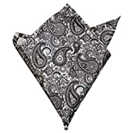 Blacksmith Men's Satin Paisley Printed Pocket Square (Grey, Free Size)