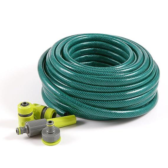 SET of 30m - REINFORCED GARDEN HOSE + adjustable hose nozzles ...