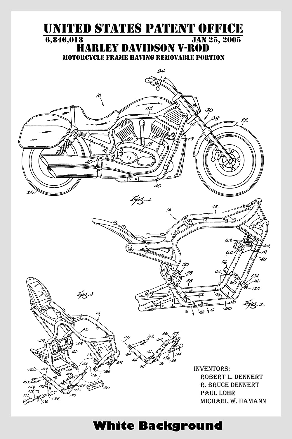 Choose From Multiple Size and Background Color Options Harley Davidson V-Rod Motorcycle Patent Print Art Poster