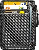 Portafoglio Uomo - Porta Carte di Credito - RFID/NFC Blocco Attivo - 7 Card Slot + zip - Design Fibra di Carbonio -