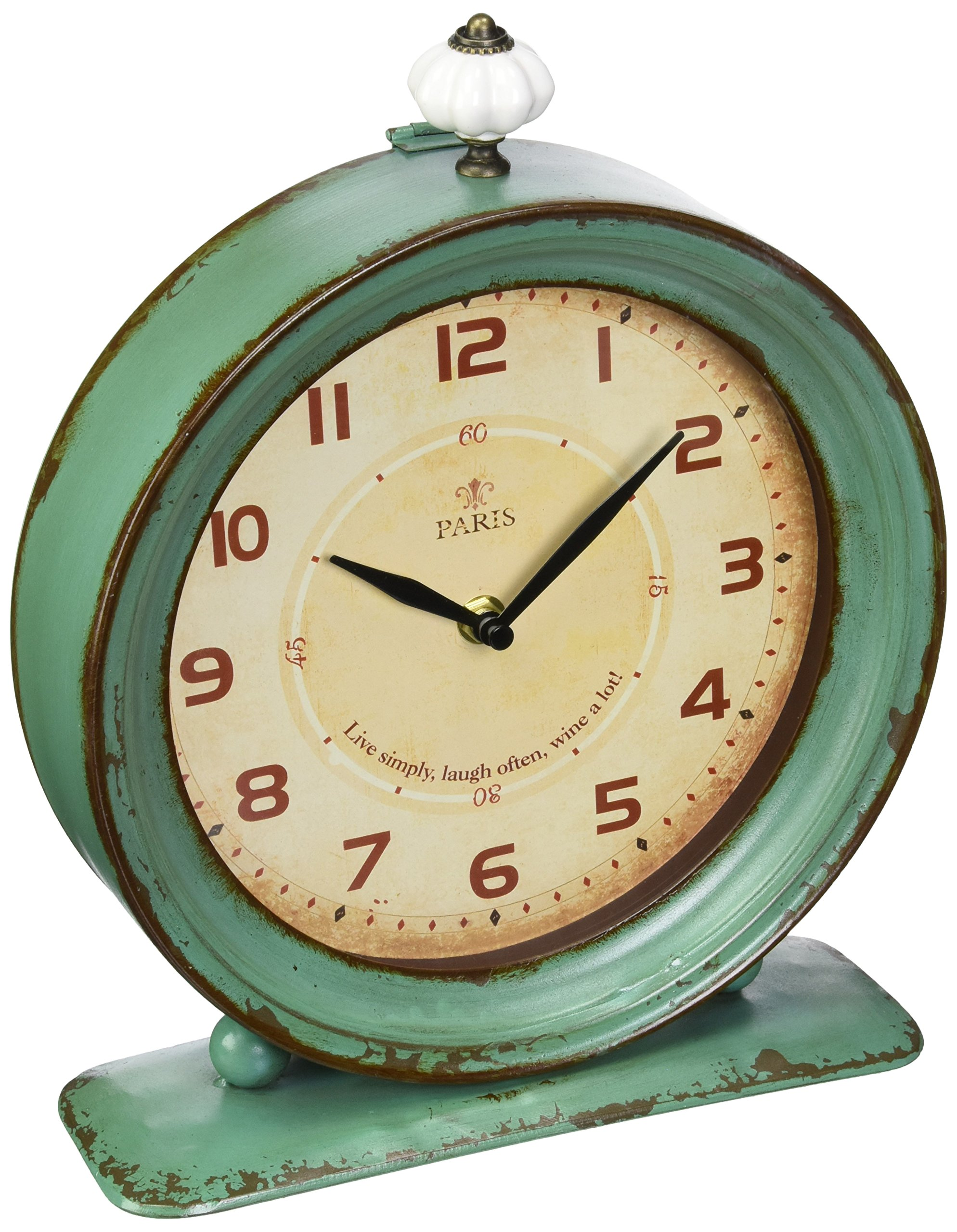Creative Co-op Metal Rustic Retro Table Clock, 10.5-Inch, Aqua - Measures 10.5 Inch high Classic and elegant old world design Distressed finish for a shabby chic look - clocks, bedroom-decor, bedroom - 91lOuvaO5qL -