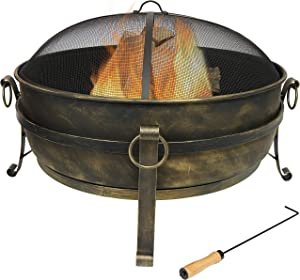 Sunnydaze Cauldron Outdoor Fire Pit - 34 Inch Large Bonfire Wood Burning Patio & Backyard Firepit for Outside with Round Spark Screen, Fireplace Poker, and Metal Grate
