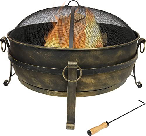 Sunnydaze Cauldron Outdoor Fire Pit – 34 Inch Large Bonfire Wood Burning Patio Backyard Firepit for Outside with Round Spark Screen, Fireplace Poker, and Metal Grate