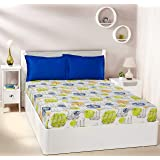 Amazon Brand - Solimo Wanderlust Tales 144 TC 100% Cotton Double Bedsheet with 2 Pillow Covers, Blue