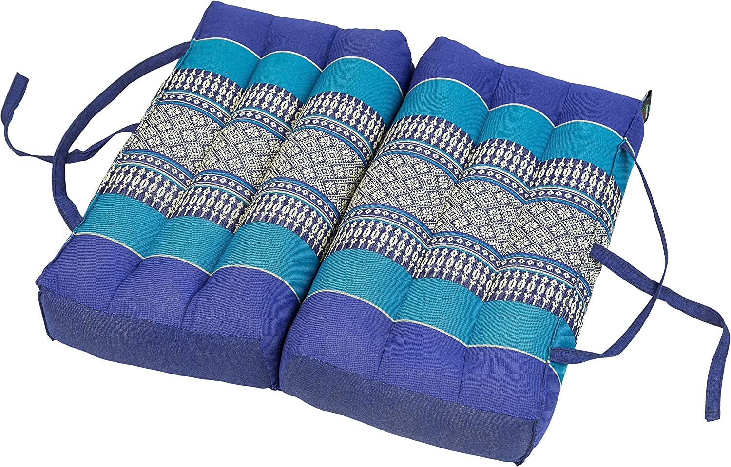 Traditional Thai Design Light Blues Support Cushion for Yoga and Meditation Pillow Block 50x15x10cm kapok-filled