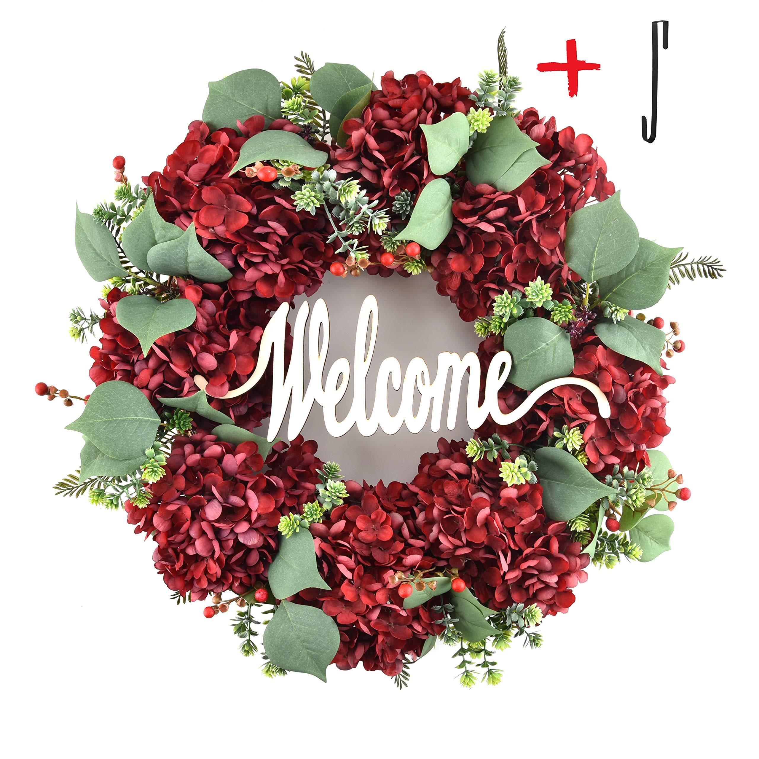 Welcome Wreaths for Front Door Handmade Hydrangea Wreath,Letter Wreaths for Front Door,Fall Wreath,Farmhouse Door Wreaths,Grapevine Wreath,Spring Summer Wreaths for Front Door Winter (19 inches) by DHKWreaths