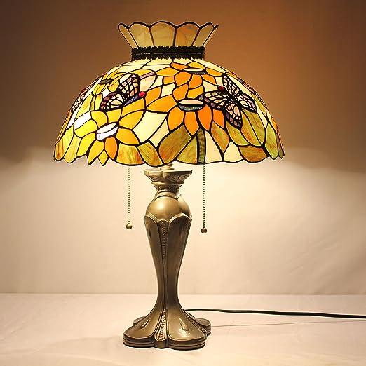 Creativo Europeo Tiffany Lámpara de mesa de 16 pulgadas de girasol ...