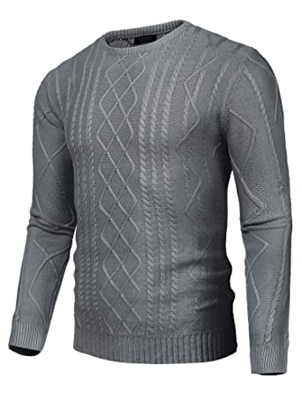 COOFANDY Mens Business Slim fit Cable Knitted Long Sleeve Crew Neck  Pullover Sweater 4e2884847