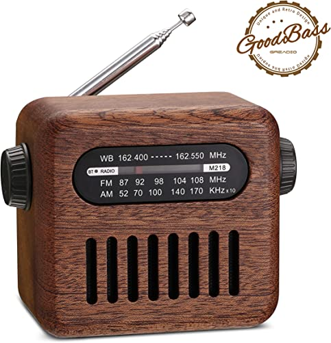 Retro Radio Bluetooth Speaker-Vintage Walnut AM FM WB Portable NOAA Weather Radio with Old Fashioned Style, Bluetooth 4.2 Wireless Connection, Loud Volume, AUX in for Home, Travel, Office