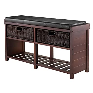 Winsome Wood Colin Cushion Bench with Baskets
