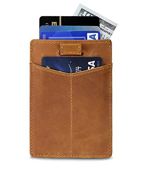 af487c6de346 Slim Credit Card Holder with RFID Blocking Thin Minimalist Wallet Front  Pocket Wallets for Men - Made From Full Grain Leather