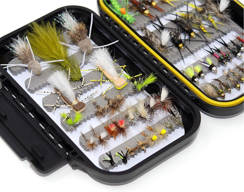 Trockenfliegen Luftschlangen Hopper Fliegen 56 Verschiedene Fliegenfliegenfliegen-Set Steinfliegen wasserfest Fliegen f/ür Fliegenfischen Nymphen