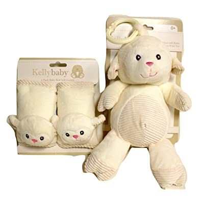Kellybaby Seat Belt Covers Matching Rattle Pram Toy Bundle (Cream Lamb) : Baby