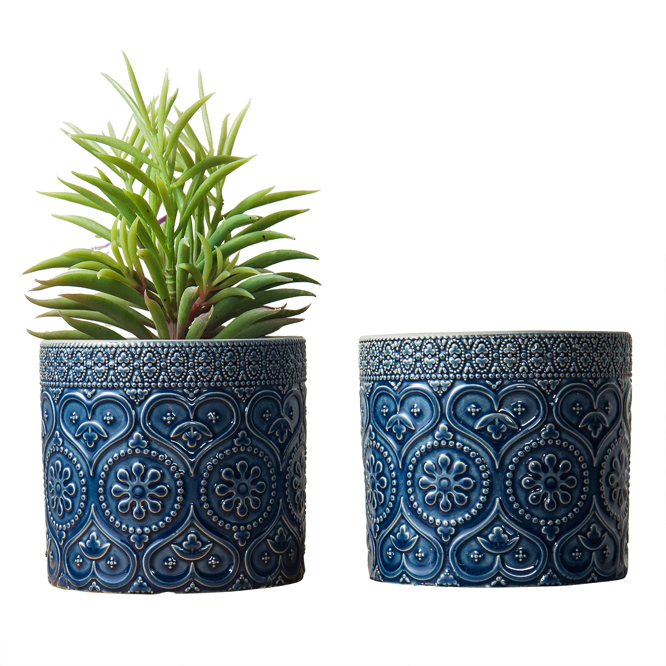 MyGift 4-Inch Cobalt Blue Ceramic Floral Embossed Succulent Planter Pots, Set of 2 by MyGift (Image #1)