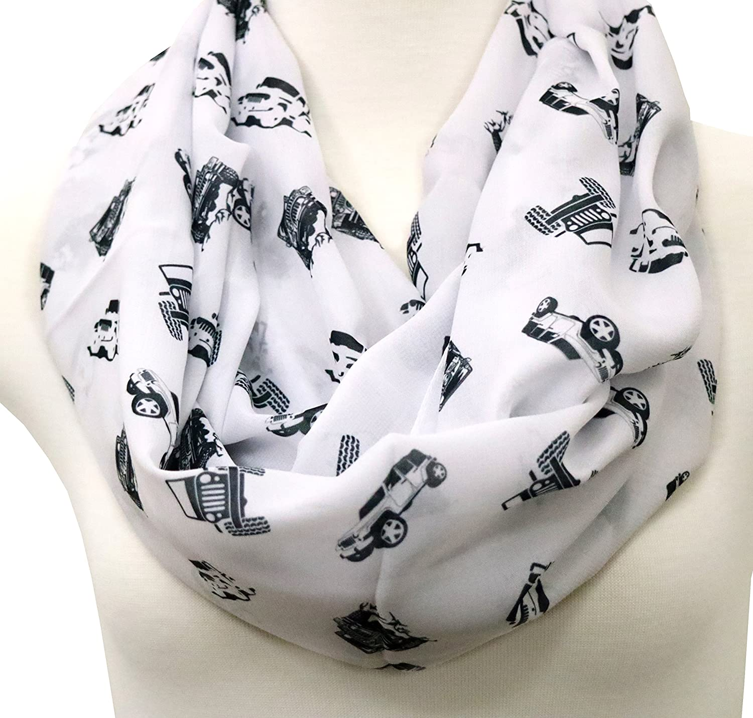 Jeep Scarf for Jeep Girl Birthday Gift for her gift idea for her infinity scarf white