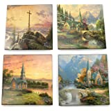 Amazon Com Thirstystone Stoneware Coaster Set Hometown Pride Coasters Thomas Kinkade Coasters