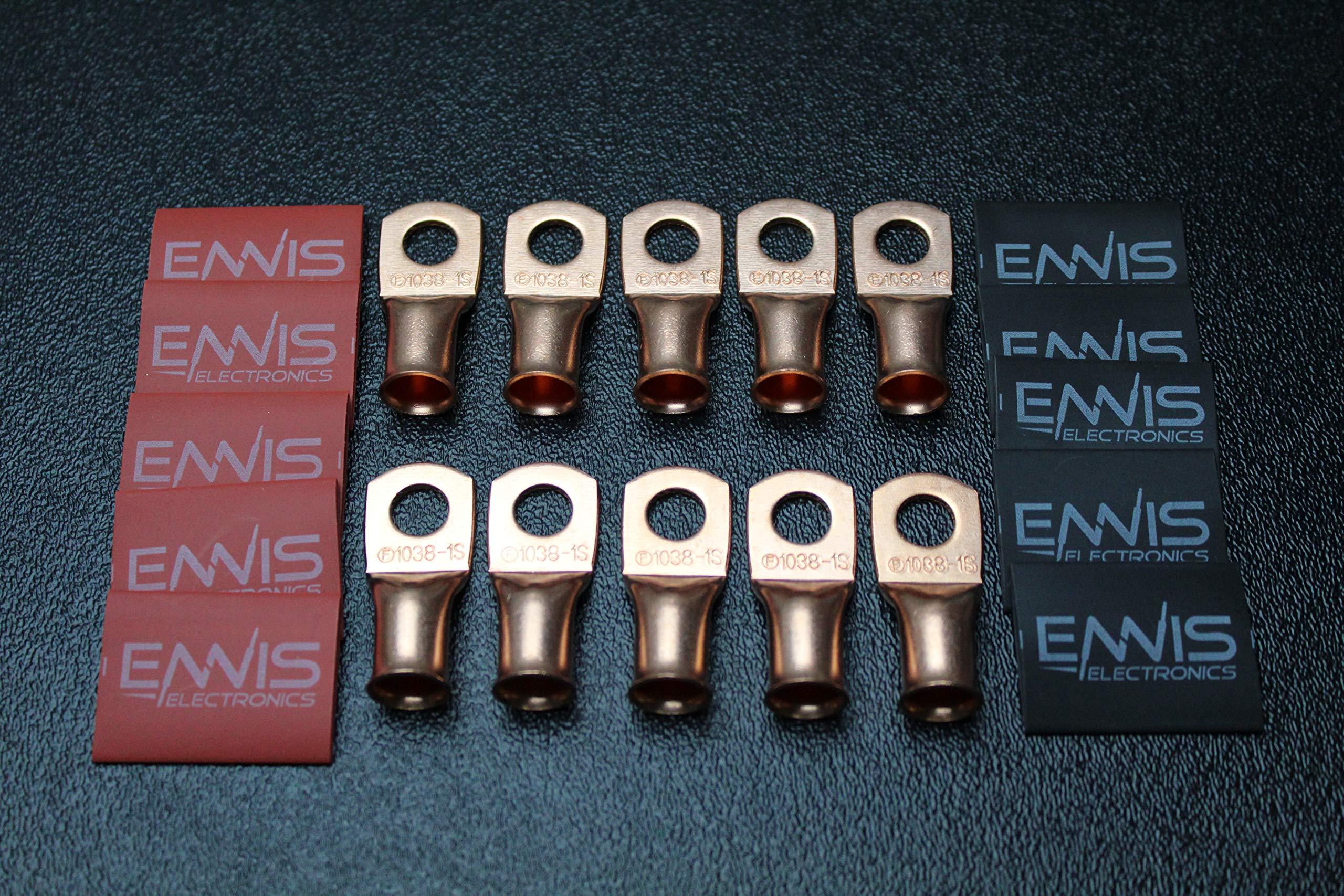 1/0 Gauge Copper 5/16 Ring 10 PK W/HEATSHRINK RED/Black Lug Battery Terminal Connector AWG CUR10516