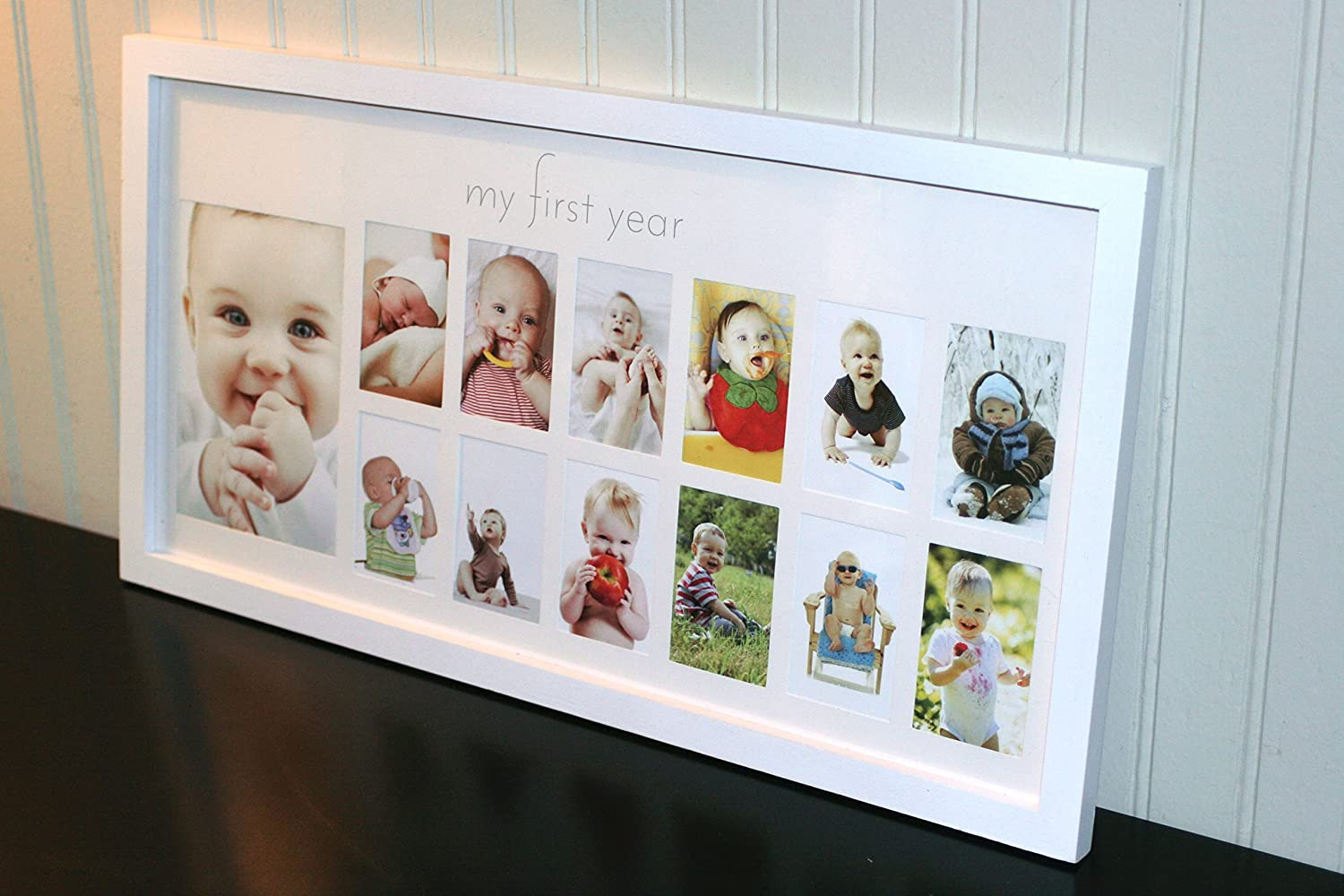 Amazon.com : Baby\'s First Year Frame in Elegant White Natural Wood ...