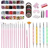43PCS Nail Art Kit,Professional 3D Nail Art Supplies with Glitter Nail Rhinestones,Nail Art Brushes,Nail Dotting Pen…