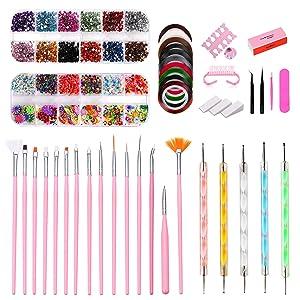43PCS Nail Art Kit,Professional 3D Nail Art Supplies with Glitter Nail Rhinestones,Nail Art Brushes,Nail Dotting Pen,Nail Striping Tapes,Nail Polishing,DIY Tools Set For Girls Nail Decoration Manicure
