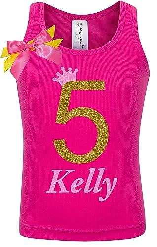 5th Birthday Shirt Gold Five T Girls Princess Tank Top Custom Name Age 5