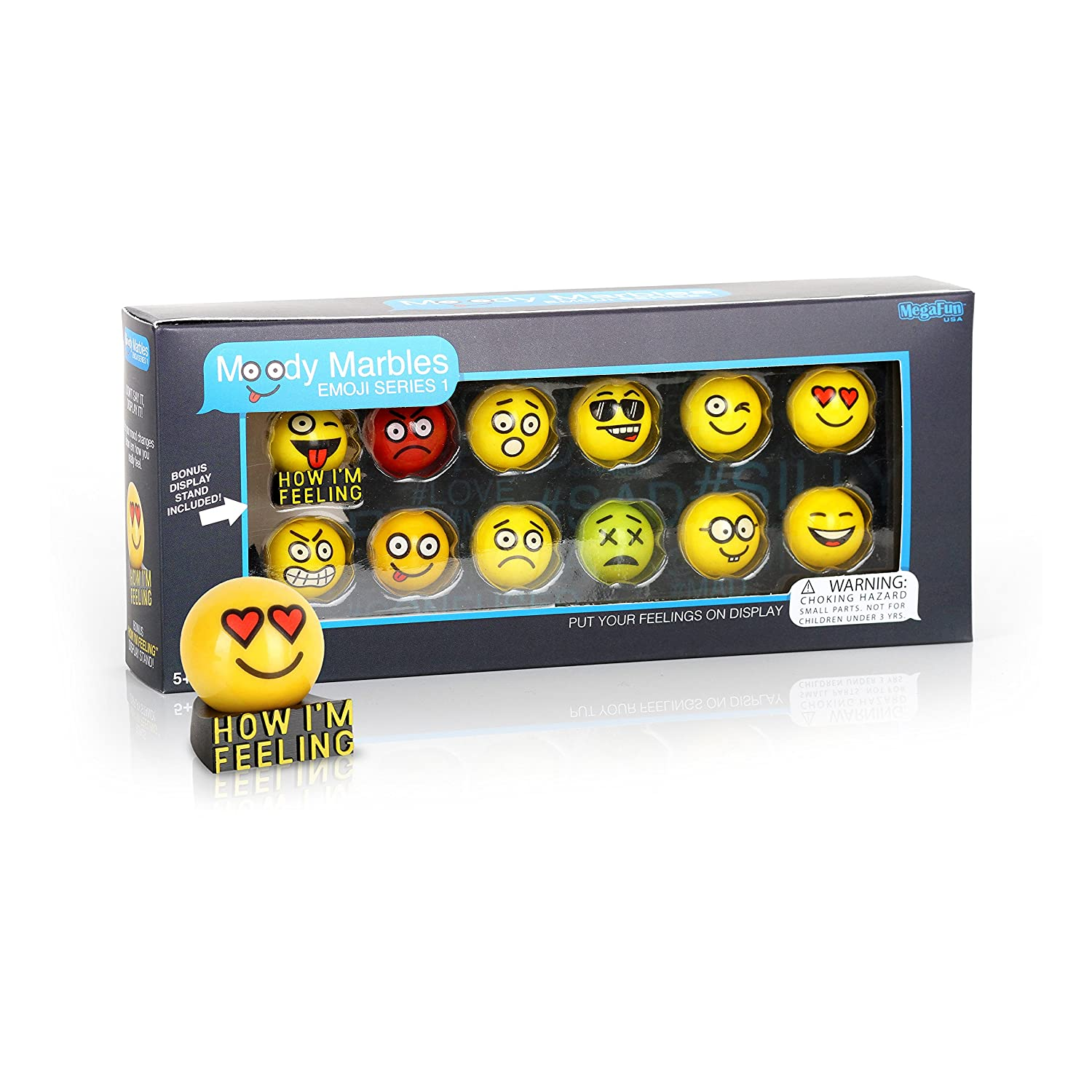 Glass Shooter Moody Marbles Emoji Series 1 Gift Set of 12