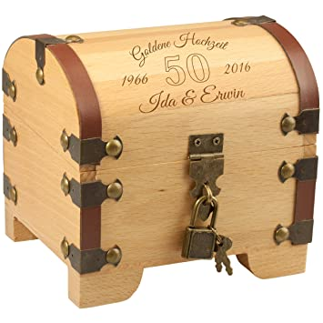 Schatztruhe Goldene Hochzeit Vintage Holztruhe Mit Schloss Und