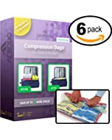 New Acrodo Space Saver Compression Bags 6-pack for Packing and Storage - No Vacuum Rolling Ziplock for Clothing & Travel