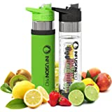 Infusion Pro Premium Fruit Infused Water Bottle (2 Pack or 1 Pack) Insulating Sleeves and Flavored Water Recipe eBook Included, Bottom Infuser Style with Flip Top Lid - 24 oz BPA Free Tritan Plastic