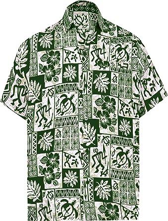 LA LEELA Casual Hawaiana Camisa para Hombre Señores Manga Corta Bolsillo Delantero Surf Palmeras Caballeros Playa Aloha XS-(in cms):91-96 Verde_W462: Amazon.es: Ropa y accesorios