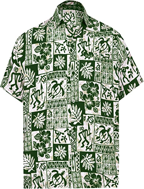 52fcef80c LA LEELA botón de Camisa Casual Hawaiano de Las Hombre Abajo  Amazon.es   Ropa y accesorios
